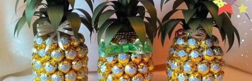 Как сделать ананас из шампанского и конфет или мандаринов?