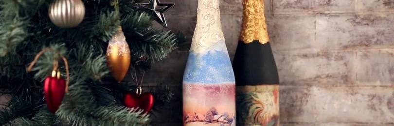Украшение бутылки шампанского на Новый год